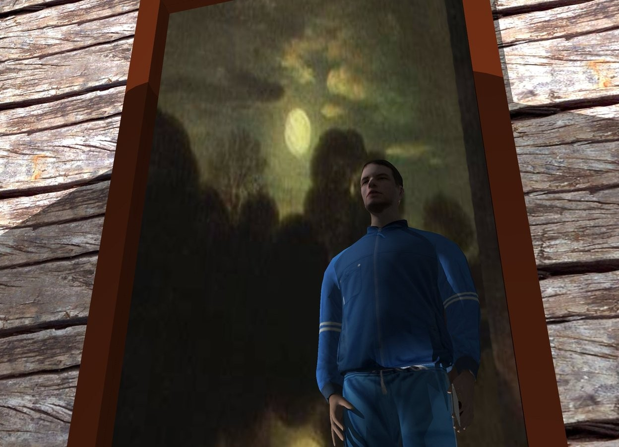 Input text: the wood wall. the large mirror is in front of the wall. the man is facing the mirror. the man is 3 foot in front of the mirror. the light is in front of the man. the light is 5 feet above the ground. the camera light is white. the sky is night. the knife is -.36 feet to the right of the man. the knife is 2.55 feet above the ground. the knife is facing left. the knife is -.9 foot behind the man.