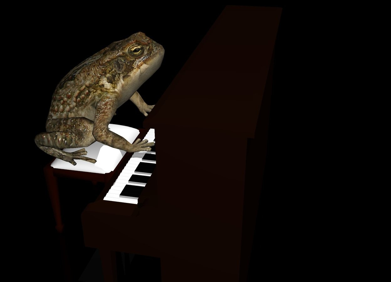 Input text: the piano. the stool is in front of the piano. the stool is 2 feet high. the frog is -3 foot to the left of the stool. the frog is facing the piano. the frog is leaning 10 degrees to the back. the frog is 2 feet above the ground. the frog is 2 feet high. the frog is -5 feet behind the piano. the ground is transparent. the sky is black