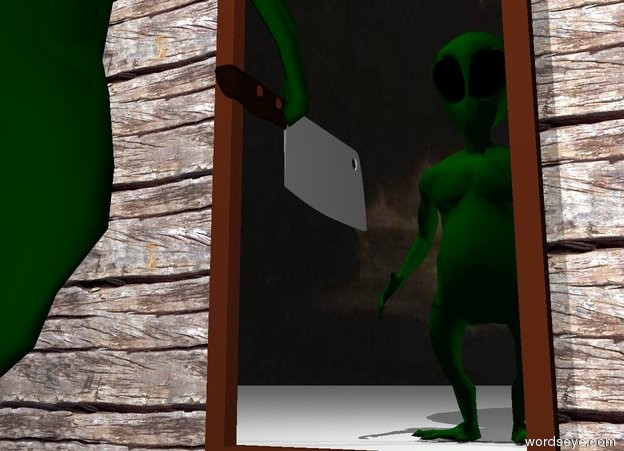 Input text: the wood wall. the large mirror is in front of the wall. the alien is facing the mirror. the alien is 3 foot in front of the mirror. the light is 6 inches behind the alien. the light is above the alien. the camera light is white. the sky is night. the knife is -2 inches to the right of the alien. the knife is 1.2 feet above the ground. the knife is facing left. the knife is -6 inches behind the alien.