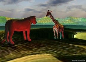 the rousseau blade is leaning 90 degrees to the right. it is 3 feet wide.  it is 80 feet tall and 80 feet deep.  the ground is water.  the camera light is black.  the 6 foot tall giraffe is -2 feet above the blade.  the lion is 2 feet in front of the giraffe. it is above the blade. it is facing the giraffe.  a yellow light is above the giraffe. a cyan light is in front of the giraffe. a red light is a foot right of the lion.