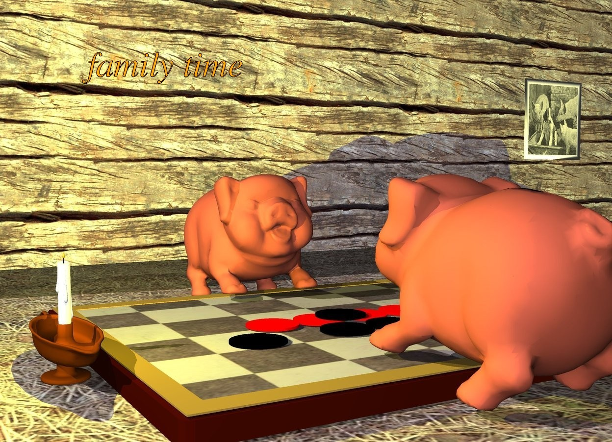 Input text: the first pig is facing forward. the first pig is leaning 10 degrees to the back. the second pig is facing the first pig. the second pig is 1 foot in front of the first pig. the second pig is leaning 10 degrees to the back. the board is -.5 feet in front of the first pig. the board is big. the ground is hay. the wood wall is 2 feet behind the first pig. the candle is to the left of the board. the bright yellow light is in the candle. the candle is facing 10 degrees to the left. the 4 tiny red disks are on the board. the 3 tiny black disks are to the front of the 4 tiny red disks. the tiny black disk is .5 feet to the right of the candle. the tiny black disk is 1.2 inch above the ground. the first tiny black disk is on the 4 tiny red disks. the small pig painting is in front of the wall. the small pig painting is -5 foot to the right. the small pig painting is 1 foot above the ground.