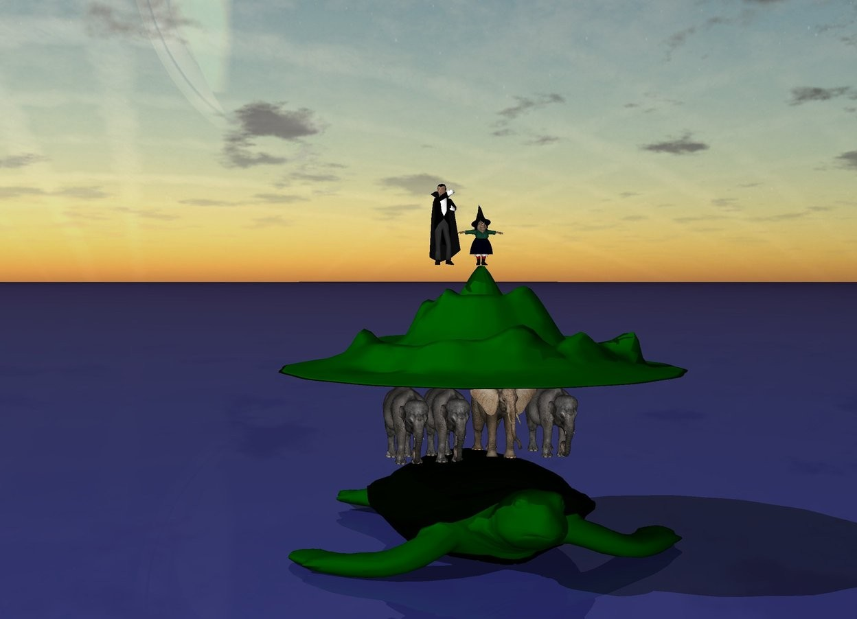 Input text: There are four tiny elephants  standing on an enormous turtle.  On top of the elephants there is a giant disk. The disk is blue and green. There is a miniscule mountain on the disk.   There is a tiny witch on the mountain. There is a tiny wizard next to her.  The ground is ocean blue.