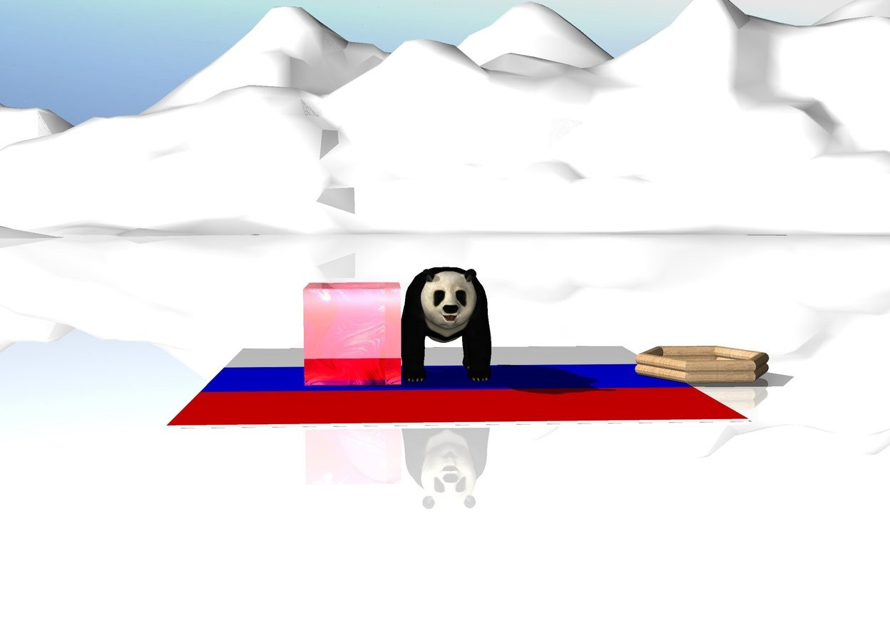 Input text: big panda on the russian flag floor. wooden raft 2 meters right of panda. huge glass cube near the panda. ground is snow