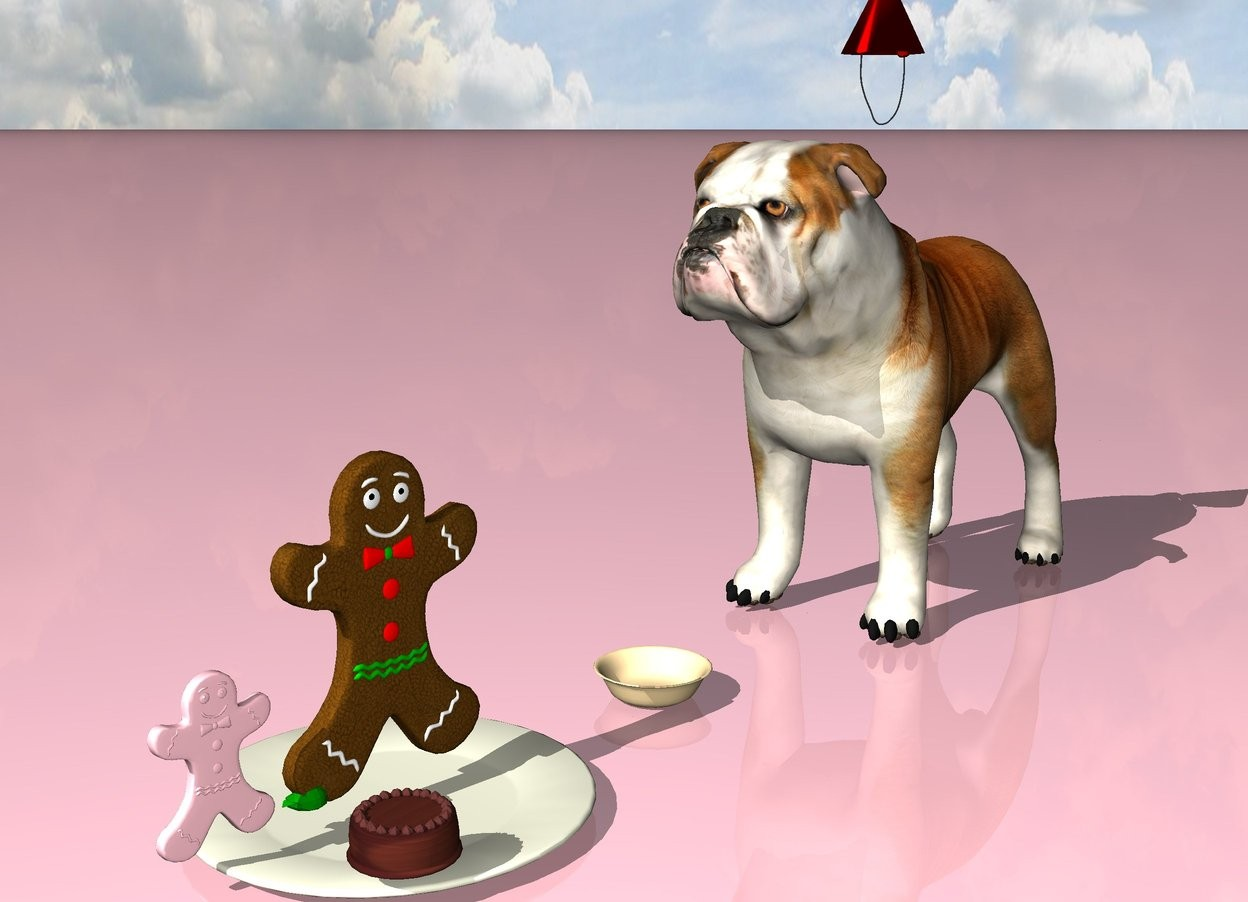 Input text: A large cookie is 1 inch above a large beige plate. A pink cookie is 1 inch to the left of the cookie. A green cookie is one inch to the right of the cookie. A small cake is 4 inches in front of the cookie. A large dog is facing the plate. The ground is pink. A party hat is 1 inch above the dog. A bowl is eight inches to the right of the plate.