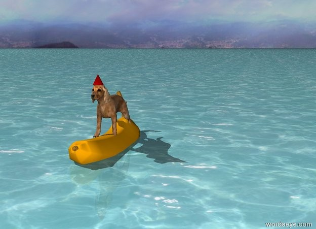 Input text: there is a 3 foot tall banana. it is 2 feet in the ground. it is leaning 10 degrees to the front. there is a 3 foot tall dog 2 feet in the banana. the ground is water. there is a hat -12 inches in front of the dog. the hat is .5 foot above the banana. the sky is cloudy.