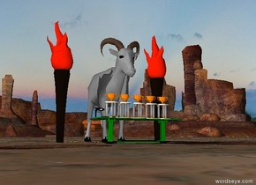 The gray goat is 10 feet tall. It is behind a green table. The table is 8 feet wide. There are five trophies on the table. There is a torch 2 feet left of the goat. It is 12 feet tall. There is a torch 2 feet right of the goat. It is 12 feet tall.