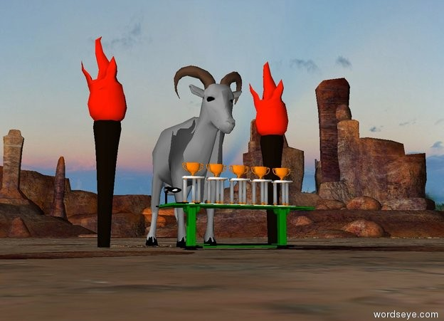 Input text: The gray goat is 10 feet tall. It is behind a green table. The table is 8 feet wide. There are five trophies on the table. There is a torch 2 feet left of the goat. It is 12 feet tall. There is a torch 2 feet right of the goat. It is 12 feet tall.