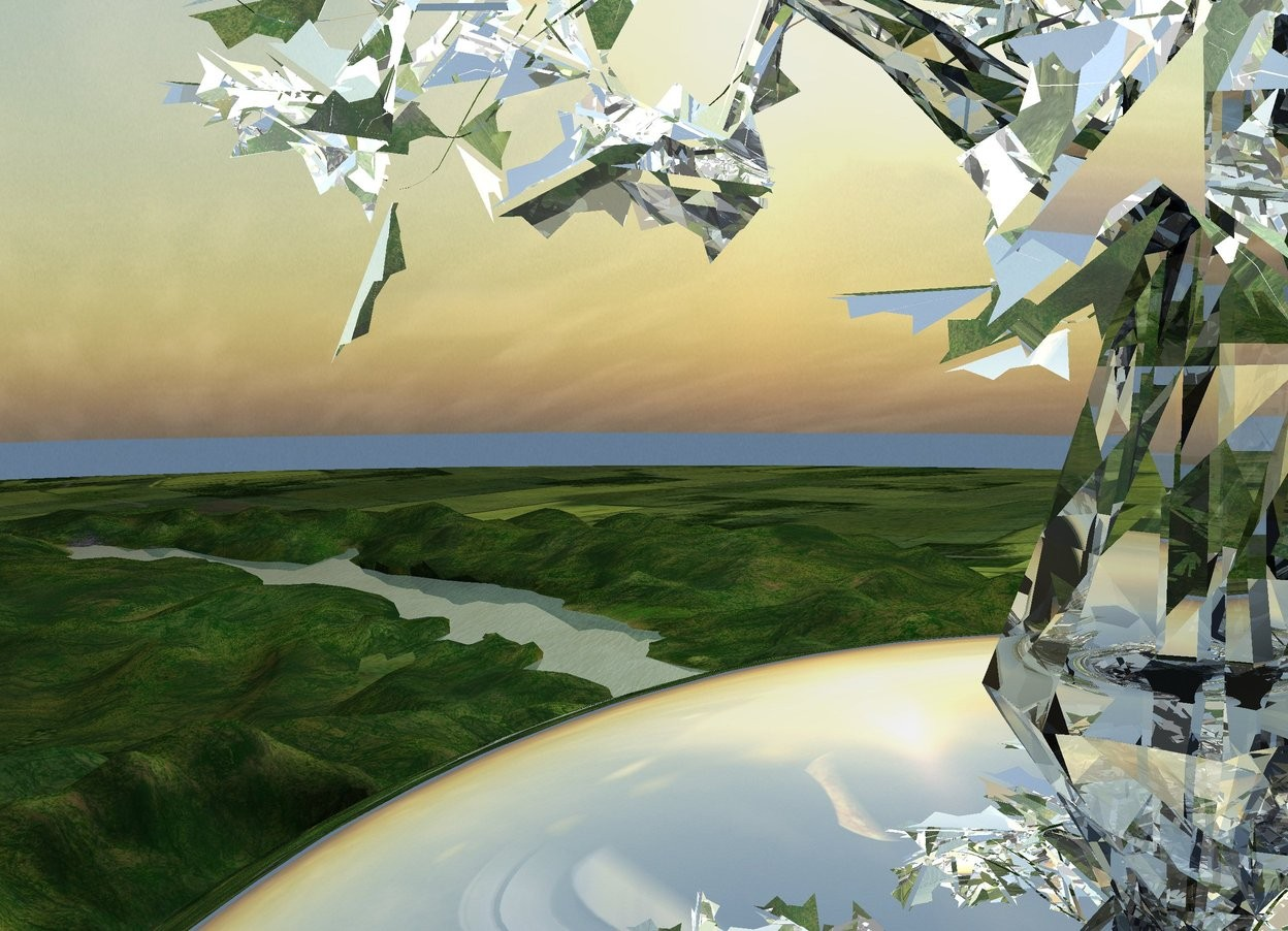Input text: The very giant silver tree is 170 feet in the enormous clear white tree. It is -235 feet left of the enormous tree. It faces west. The very giant tree's leaf is clear white.  Its tree trunk is silver. Its branch is silver. Its stem is silver.  Its plant stem is silver.  The enormous tree is 10 foot in the silver sphere. The silver sphere is 500 feet tall. It is 350 feet in the ground. The ground is 100 feet tall.  The sky faces east.  The camera light is black.