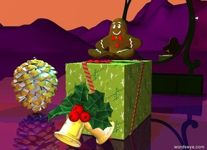 the gift.  the gingerbread man is on the gift.   a large mondrian pinecone is  8 inches left of the gift.  the ornament is in front of the gift.  the ground is purple. the sky is coral.  a cyan light is above the gingerbread man. a yellow light is above the pinecone.  a mirror is two feet behind the gift.