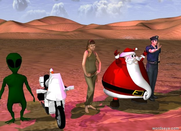 Input text:  A huge green bronze light is above santa. A huge magenta light is above the girl. It is day. Girl, adult, policeman fly. space alien. the duck is on motorcycle. terrestial plant