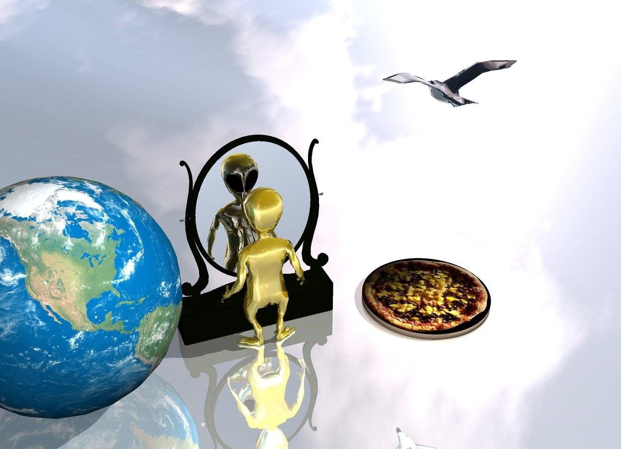Input text: one small gold walking alien  on a reflective ground.  an big pizza is one feet to the left of the alien. the silver seagull  flies one meter over pizza.  Earth is one feet before the alien. Mirror in front of alien