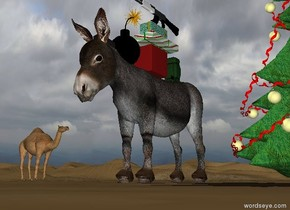 The donkey is two feet to the left of the tree. The watermelon is three feet to the right of the tree. The first gift is 1 foot  in the donkey. A second gift is on the first gift. A third  gift is on the second gift. The gun is on the third gift. a small backpack is 4 inches behind the first gift. t is facing right. The large bomb is in front of the first gift. The camel is 20 feet behind the donkey. It is 30 feet to the left of the donkey. It is facing right.