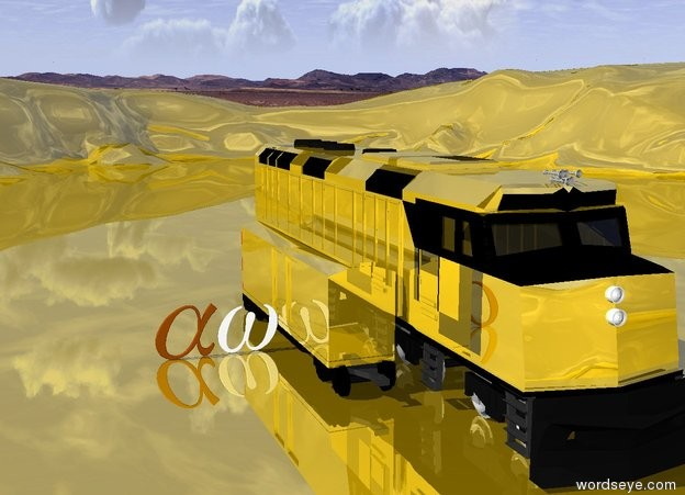 Input text: Gold Canyon. Gold Train. alpha. omega. Golden locomotive. Big alpha. Big omega. large green emerald.