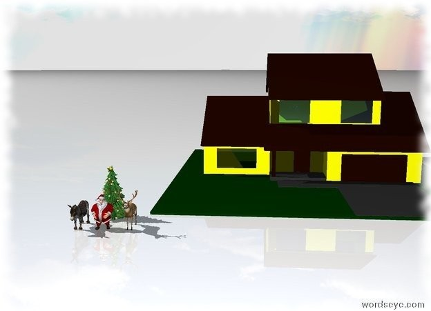 Input text: Donkey is one foot to the left of Santa Claus. The ground is snow. Deer is one foot to the right of Santa Claus. Two christmas trees are behind and to the right of the donkey. Light yellow house is five feet behind and to the right of the deer.