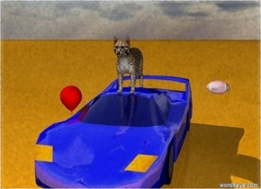 A cat is on a shiny car.  The car is blue.  There is a red balloon left of the car.  There is a pink football 3 feet right of the cat.  The ground is orange.