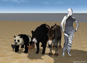 the cat is on the beach with a panda, a tiger , a ladybug, a  bear , , a  little donkey, and a pretty african girl
