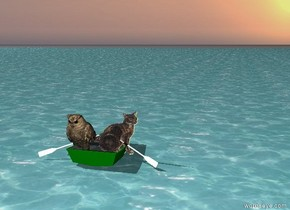 A Large owl and a cat are in a green boat. The boat is on the sea.