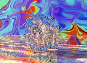 there is a silver elephant. there is a shiny rainbow ground. there is a [image-8204] sky. 10 feet behind the elephant is a huge glass pyramid. in front of the elephant is a massive glass sphere. the sphere is 7 feet above the ground. .