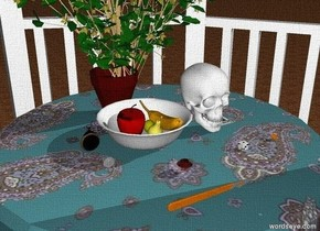 The ground is unreflective wood. It is morning. The very large paisley compound is inside the very large white gazebo. The very large white soup bowl is on the compound. In the soup bowl is a large banana, a large lemon, and a large apple. The large pear is south of the lemon. A very large statue is west of the compound. The statue is facing south. The statue is 1 foot away from the compound. The large pocket watch is on the compound. The large white skull is on the compound. The large flower pot is north of the soup bowl. The large witch hazel is in the flower pot. The large die is one foot south of the skull. A very large scalpel is two feet south of the soup bowl. The large jack of spades is a foot east of the bowl. The three coins are a foot south of the pocket watch. The two large rings are a foot east of the die. The very large red jewel is one foot north of the scalpel. momento mori