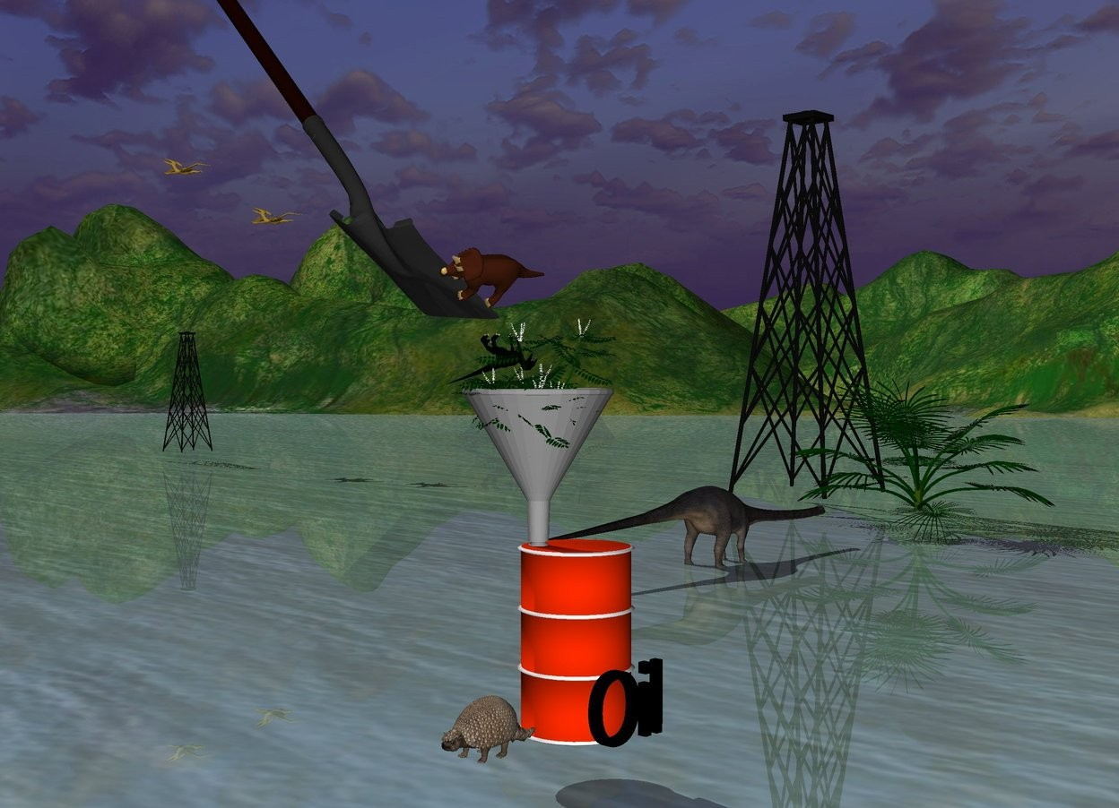 "Input text: A huge funnel is on the barrel's spout.  The huge shovel is 2 feet left of the funnel. The shovel is facing the funnel. The shovel is leaning 45 degrees to the back. The shovel is 1 feet above the funnel. The tiny first dinosaur is 1 feet in the funnel. The first dinosaur is leaning 140 degrees to the back. The plant is 1 feet in the funnel. The second tiny dinosaur is 1 inches above the first dinosaur. The second dinosaur is leaning 67 degrees to the left. The third tiny dinosaur is in front of the barrel. There is a small derrick 50 feet behind the barrel. The derrick is 25 feet to the left of the barrel. The second tiny derrick is 70 feet left of the derrick.  The fourth small dinosaur is 10 feet to the right of the second derrick. The fourth dinosaur is 10 feet above the second derrick. The fifth small dinosaur is 10 feet to the left of the fourth dinosaur. The fifth dinosaur is 5 feet above the fourth dinosaur. The tree is 40 feet behind the barrel. The tree is 10 feet to the left of the barrel.  The sixth tiny dinosaur is 15 feet behind the barrel. The sixth dinosaur is 15 feet to the left of the barrel. The sixth dinosaur is facing the tree. The sixth dinosaur is 1 inches in the ground. ""Oil"" is right of the barrel. ""Oil"" is Black. ""Oil"" is facing 25 degrees to the right."