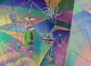 there is a [geo] sky. there is a silver ground. there is a giant silver snail. there is a giant glass mushroom. the snail is facing the mushroom. the snail is 6 inches to the right of the mushroom. There is a small silver star above the mushroom. there is a small silver sun symbol to the right of the star. there is a small silver moon symbol to the left of the star. the moon is facing the star.  there is a tiny glass flower. the flower is in front of the snail. there is silver grass in front of the flower. there is a tiny silver daffodil 3 inches to the right of the snail.
