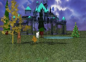 There is a clear glass castle.  The ground is grass.  The roof of the castle is turquoise.  There is a pond 50 feet in front of the castle.  There is a large Christmas tree to the right of the pond.  There are 3 fir trees by the castle.  There is 1 fir tree on the left of the castle.  There is a brown horse on the left of the pond. There is a white horse two feet to the left of the brown horse.  There is an orange bush 30 feet in front of the brown horse.  The bush is 10 feet to the left.  There is a small poplar tree to the left of the bush.  The poplar tree is gold. There is a golden brown horse 2 feet to the right of the poplar tree.
