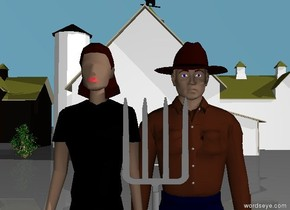 there is a white barn. 35 feet in front of the barn there is a man. he is -26 feet left of the barn. there is a woman -.3 feet to the left of the man. there is a gray 5 foot tall pitchfork .5 feet in front of the man. it is -.9 feet to the left of the man.the pitchfork is leaning 180 degrees to the left. the sky is sky blue. the camera light is bright. it is morning. .  there is another barn 1 foot left of the white barn. there is a 5 foot tall bush 3 feet to the right of the barn. it is -10 feet in front of the barn.