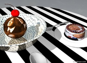 the shiny dotted bowl is on the striped table. the tiny [mousse] sphere is in the bowl. the small cherry is on the sphere. the small plate is -3 inches in front of and to the right of the bowl. the very small [trump] cake is on the plate. the spoon is in front of the bowl. the small fork is behind the plate. it is facing right.