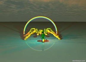 the giant green alien is one foot to the left of the lion. The cyan light is two feet above the alien. The red light is two feet above the lion. A large beach ball is three feet to the front of the alien. a giant pyramid is two hundred feet behind the alien. it is sunset. A twenty foot tall gold spider is ten feet behind the alien.  A rainbow is in the sky directly behind the spider. it is on the ground.  a flying saucer is in the sky seven hundred feet above the rainbow.