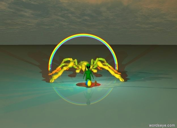 Input text: the giant green alien is one foot to the left of the lion. The cyan light is two feet above the alien. The red light is two feet above the lion. A large beach ball is three feet to the front of the alien. a giant pyramid is two hundred feet behind the alien. it is sunset. A twenty foot tall gold spider is ten feet behind the alien.  A rainbow is in the sky directly behind the spider. it is on the ground.  a flying saucer is in the sky seven hundred feet above the rainbow.