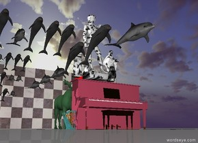 the pink mauve piano is several feet in front of the blue-green moose.  three red bowling balls are one inch above and one inch right of the blue-green moose.  three small marble statues one inch above the pink mauve piano.  There is a checkerboard wall behind the blue-green moose.  There is a feeling.  The sky is dark.  six small dolphins  two inches left of three marble statues.  six small dolphins one inch above six small dolphins.  six very small dolphins one foot below six small dolphins.  six very small dolphins three inches behind and below six very small dolphins.  six very small dolphins three inches behind and below six very small dolphins.   small green turquoise harps three inches left of pink mauve piano.