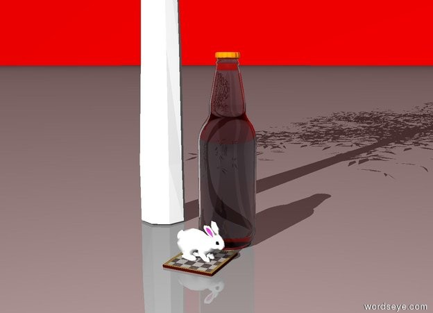 Input text: The bunny is on the checkerboard to the left of the giant bottle in front of the red sky one foot in front of an oak tree