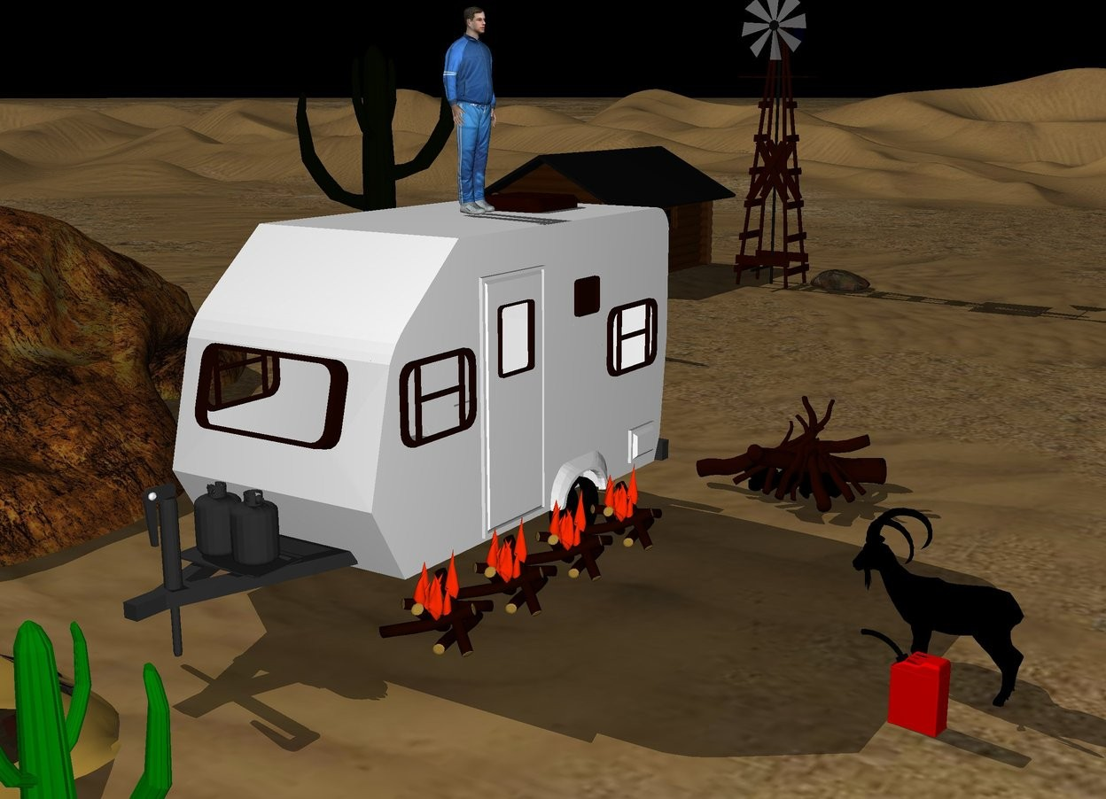 Input text: black sky. cave 5 foot left of camper.  car in the ground in front of camper. black goat 10 foot right of camper faces cave. man on the camper faces black goat. five campfires  to the right of camper. big can one foot in front of black goat faces camper. Big fire behind camper. Cabin 30 foot behind cave. windmill 5 foot to  the right of cabin. Green cactus  1 foot to the right of car. Big cactus 10 foot behind cave. rock 10 foot to  the right of cabin.