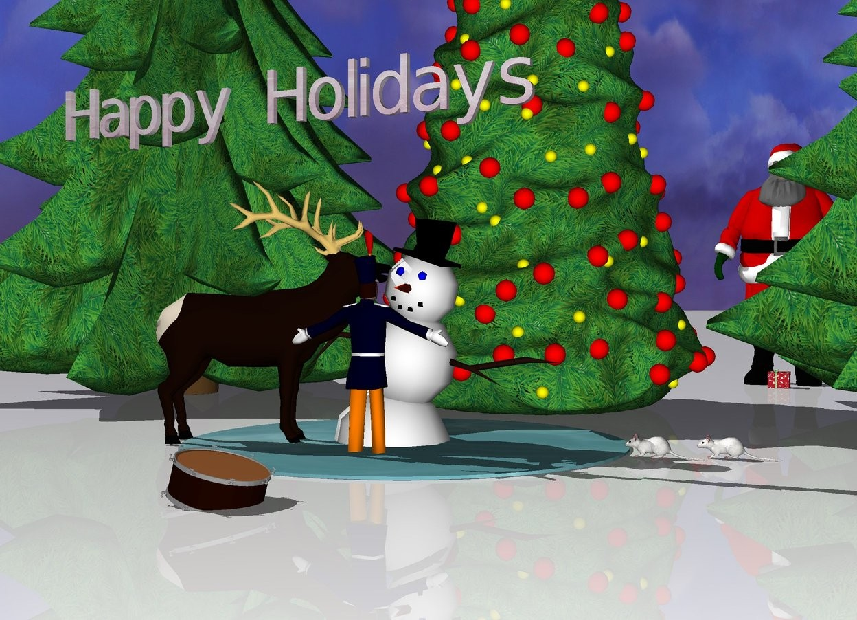 "Input text: water is on the ground. The small snowman is 5 inches in the water. The snowman is leaning 12 degrees to the left.  The ground is snow.  The tiny deer is next to the nose of the snowman. The deer is facing the snowman. The deer is on the ground. The christmas tree is behind the water. The first tree is next to the christmas tree. The second tree is to the right of the christmas tree.  The first mouse is to the right of the water. The first mouse is facing the snowman. The second mouse is to the back of first mouse. The second mouse is -1 inches to the right of the first mouse. The second mouse is facing the snowman.  Small santa is 5 feet behind the water. Santa is -5 inches right of the water.  The tiny human is in front of the snowman. The human is facing the snowman. The human is 1 inches in the ground.  The tiny drum is 16 inches in front of the human. The drum is 7.2 inches in the ground. The drum is leaning 15 degrees to the left.  The tiny present is in front of the santa. The present is on the ground.  Tiny ""Happy Holidays"" is 4 inches above the deer.  ""Happy Holidays"" has a glass texture."