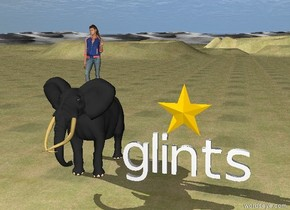 "The star is on top of ""glints"". The sky is cloudy. The ground is grass. A small elephant is to the left of ""glints"". A small girl is on top of the elephant."