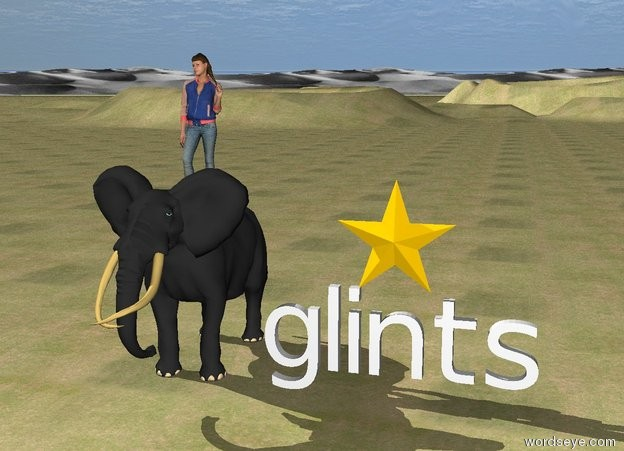 "Input text: The star is on top of ""glints"". The sky is cloudy. The ground is grass. A small elephant is to the left of ""glints"". A small girl is on top of the elephant."