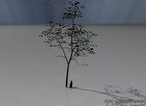 The dog is on the ground to the right of the tree.  The dog faces backwards.