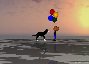 The boy is to the right of the dog.  The boy faces the dog.  The dog faces the boy.  There is a tree to the left of the dog.