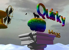 "the small pedestal is on the water mountain range. the rainbow brain is on the pedestal. it is facing left. the gold fan is a foot to the left of it. the fan is facing the brain. it is cloudy. the tiny gold ""Ideas"" is several inches to the right of the brain. the small rainbow ""Quirky"" is 6 inches above the ""Ideas"". the camera light is black. the purple light is 2 feet in front of the brain. the blue light is two feet to the right of the pedestal. the tiny cat is on the brain. the tiny bird is 5 inches to the left of the cat."