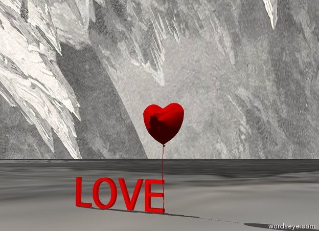 "Input text: The ground is ice. The sky is ice. The enormous red heart is on the ground. Huge red ""LOVE"" is on the ground. ""LOVE"" is behind the heart. ""LOVE"" is to the left of the heart."