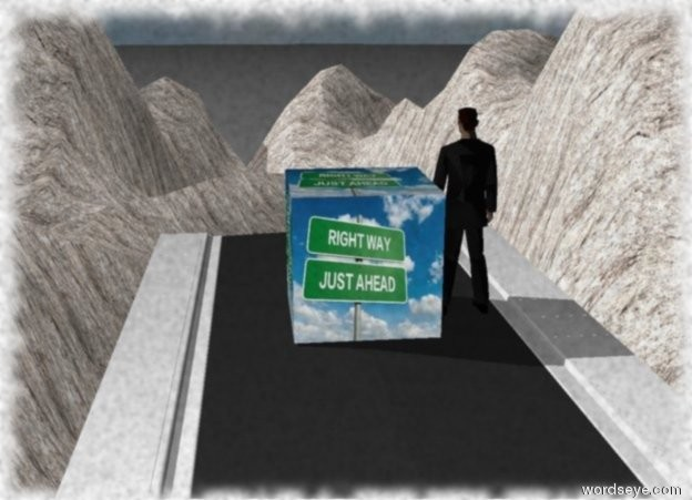 Input text: the road is in front of the stone canyon. It is 70 feet in  the air.  the huge [motivation] cube is on the road.  it is 1 foot above the road. the man is right of the cube. he is facing the canyon.the sky is cloudy.
