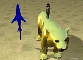the girl is on the giant metal tiger. her hair is black.  her swimsuit has a polka dot texture. the enormous blue shark is next to the girl. it is facing up. it is 5 feet away from the girl. the ground is grass. it is cloudy.