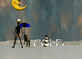 """there is a woman with a blue umbrella. the umbrella is on the woman's right hand. there is a hat on the woman.  the woman is on a glassy mountain range. there is a rainbow tiger 3 feet behind the woman. the tiger is tilting backward. there is a large moon 3 feet above the woman. the moon is facing right.  there is a snowman 3 feet to the right of the tiger. it is sunrise. it is cloudy.  add text """"COLD"""".  """"COLD"""" is 5 feet behind the snowman. """"COLD"""" is large."""