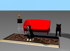 a cat is six inches to the right of a very small red sofa.the cat is dark brown. a bowl on a very small stool three inches to the left of the sofa.one inch above the bowl is a fish.the fish is orange.three inches in front of the sofa is a small rug.on the rug is a small dog.