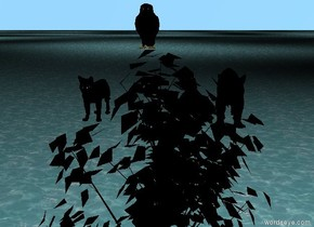 a small owl in a very small black tree. a cat one foot to the left of the tree.the cat is 16 feet above the ground.the cat is orange.a tiger one foot to the right of the tree.the tiger is 16 feet above the ground.the tiger is orange and black.the tiger is small.the owl is black.the ground is water.the tiger is black. the cat is black.the cat is black.the ground is black.