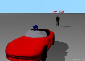 "a blue and black pig. the pig is in a car. a man. the man is 30 feet behind the car. a red ""my car"" one foot above the man."