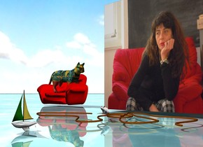the very large [tiziana] cube is a couple of feet to the right of the small red chair. the matisse cat is on the chair. it is facing the cube. the ground is shiny water. it is cloudy. the sailboat is 3.2 feet in front of the cube. it is 6 inches long. the small rope is a foot in front of the cube. the tiny white mouse is on the rope.