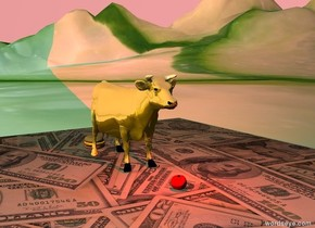 the large burger is behind the gold cow. the cow is on the [money] floor.  the large tomato is in front of the cow.  the floor is on the very tall [cucumber] mountain range.  a red light is a foot above the tomato.  it is dusk.  the sky is pale magenta.