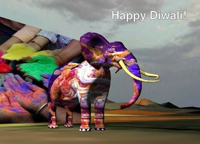 the small [ganesh] elephant is on the klee mountain range. the [HOLI] wall is 7 feet behind the elephant. the ground is shiny. it is cloudy.