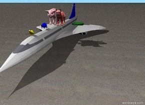 a big pink pig. the ground is sand.the pig is on top of a very small plane.a big red and white cat is on the plane.a snake is 2 feet to the right of the pig.a blue beaver is 1 foot in front of the pig.a yellow mouse is 3 feet in front of the beaver.